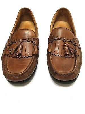 dockers loafers mens 115m brown leather tassel shoes slip