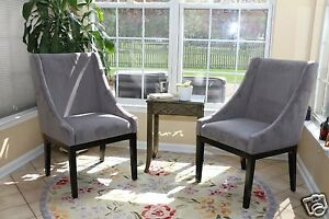 Set Of 2 Modern Grey Arm Slipper Dining Sofa Chair Accent