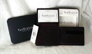 VAN-HEUSEN-PASSCASE-Dark-Brown-Leather-Mens-Wallet-Bifold-in-Tin-NEW-NWT