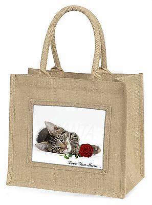 Kätzchen+Rose 'Liebe, die Sie Mama' Große Natürliche Jute-einkaufstasche