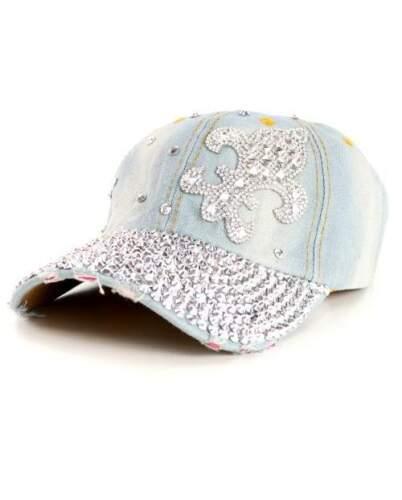 Fleur De Lis Rhinestone Fashion Bling Baseball Cap Hat Adjustable Denim