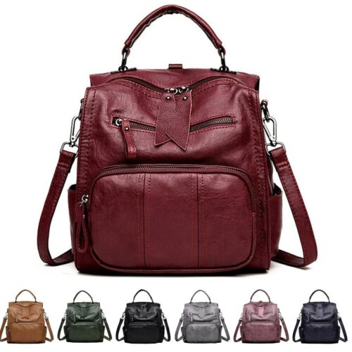 Women Large Leather Handbag Capacity Travel Tote Backpack Shoulder School Bags