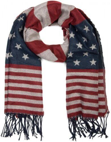 Unisex Feinstrick Schal im stylischen USA Design mit Fransen Stars and Stripes