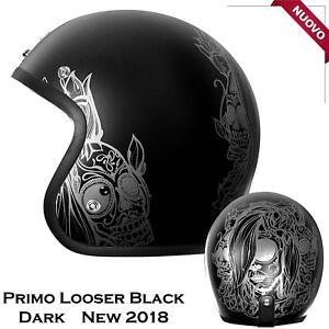 Casco-Bandit-Omologato-Origine-Primo-Looser-Dark-Nero-Opaco-Moto-Custom-Harley