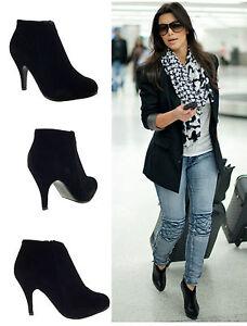 Para-Mujer-Damas-Negro-imitacion-de-gamuza-TALoN-MEDIADOS-Stiletto-Tribunal-Zapatos-Botines-Talle