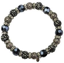KIRKS FOLLY  BE STILL MY HEART CRYSTAL STRETCH BRACELET  antique silvertone New!