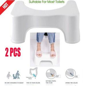2pcs-Toilet-Squatty-Step-Foot-Stool-Potty-Help-Prevent-Constipation-Bathroom