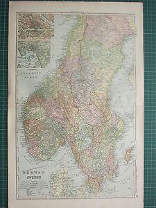 1900 LARGE VICTORIAN MAP ~ NORWAY & SWEDEN ~ STOCKHOLM CHRISTIANIA GOTTLAND