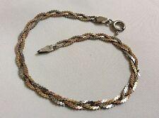 "Sterling Silver  925 tri color Link braid  signed  ITALY 7"" bracelet"