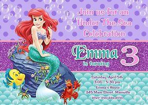 Little mermaid princess ariel birthday party invitation ebay image is loading little mermaid princess ariel birthday party invitation filmwisefo