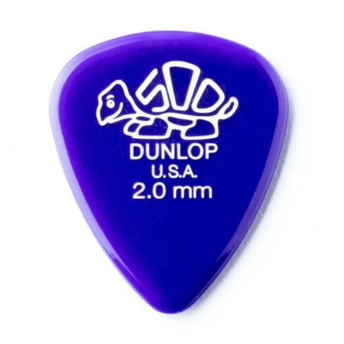 Jim Dunlop 2.0 mm Delrin 500 Electric Guitar Plectrum Picks X6 PACK