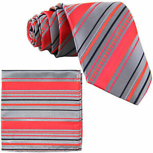 ceada2fae78d4 New Men's Poly Woven Neck Tie & Pocket Square Hankie Set Coral/ Gray ...