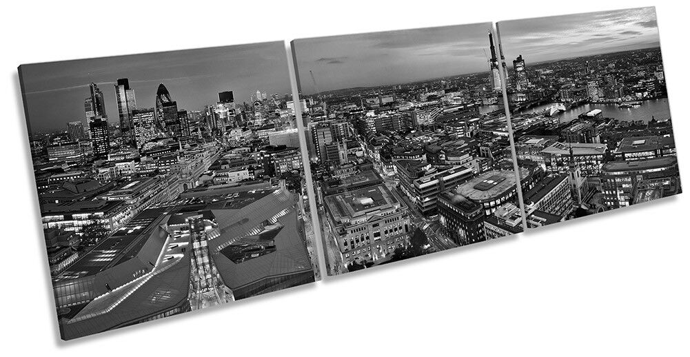 City of London Skyline B&W Picture CANVAS WALL ART Triple Print