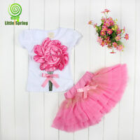 2015 New Kids Baby Girl Princess Flower Tutu Dress Party Formal Lace Skirt 2-6Y