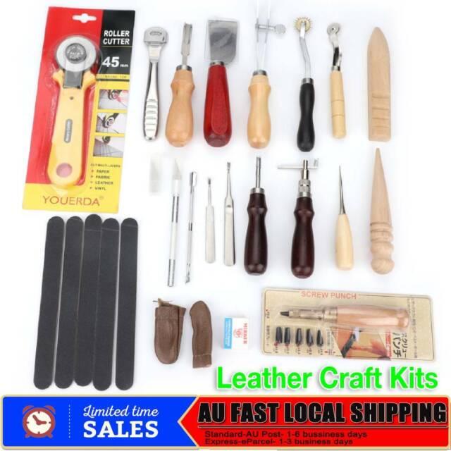 39pcs Leather Craft Tools Punch Kit Stitching Working Stitching Sewing AU STOCK