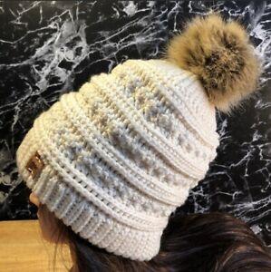 Beige Chunky Knit Slouchy Winter Hat Beanie w/ Taupe Faux Fox Fur