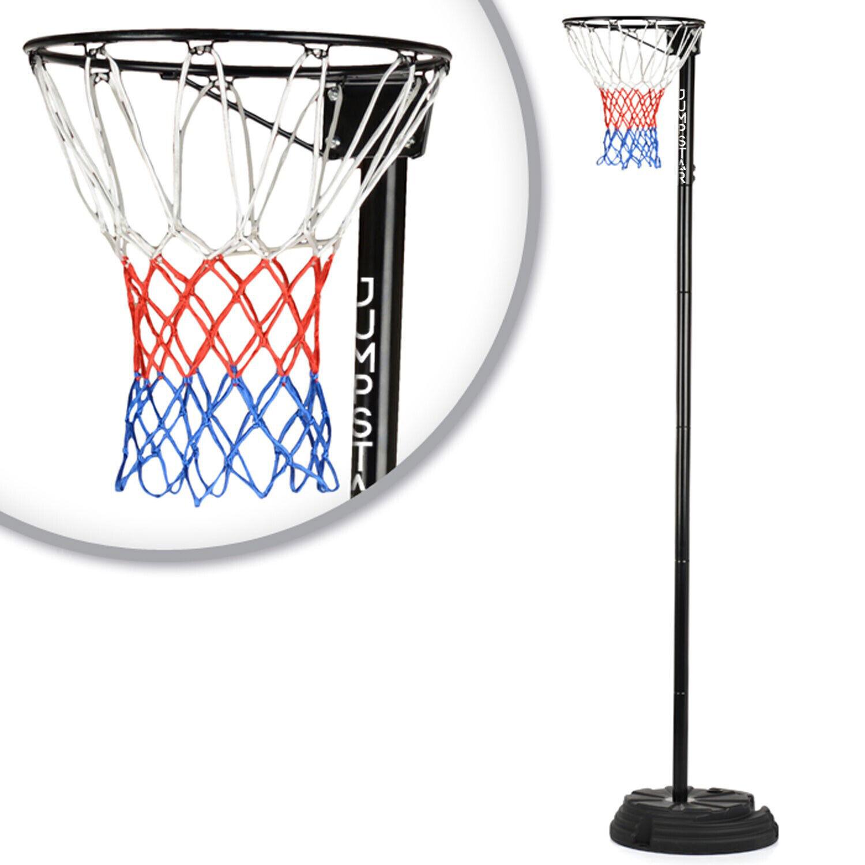 JumpStar Sports Junior Netball Post Stand Hoop Net Height Adjustable 8ft to 10ft