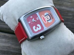Paul Frank Watch Red Vegan Faux Leather Band Water Resistant 3 ATM