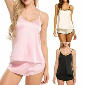 f2d2fd869 Image is loading Womens-Sexy-Lingerie-Satin-Pajamas-Cami-Top-Shorts-