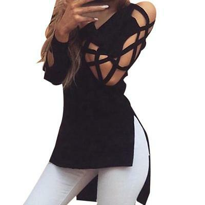 Fashion Women Sexy Casual Hollow Cotton Long Sleeve Loose Shirt Tops Blouse Hot
