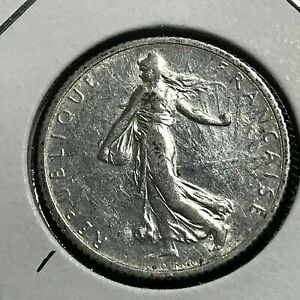 1916-FRANCE-SILVER-1-FRANC-NEAR-UNCIRCULATED-COIN