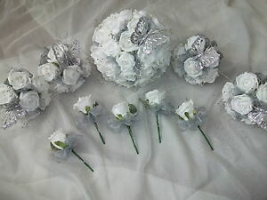 Silver and white wedding bouquet flowers package ebay image is loading silver and white wedding bouquet flowers package mightylinksfo