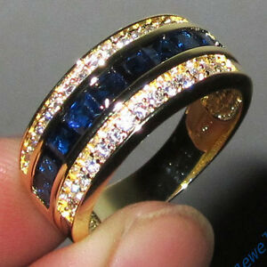 Sz-8-13-Classic-Jewelry-Mens-Blue-Sapphire-10KT-Yellow-Gold-Filled-Band-Ring-HOT