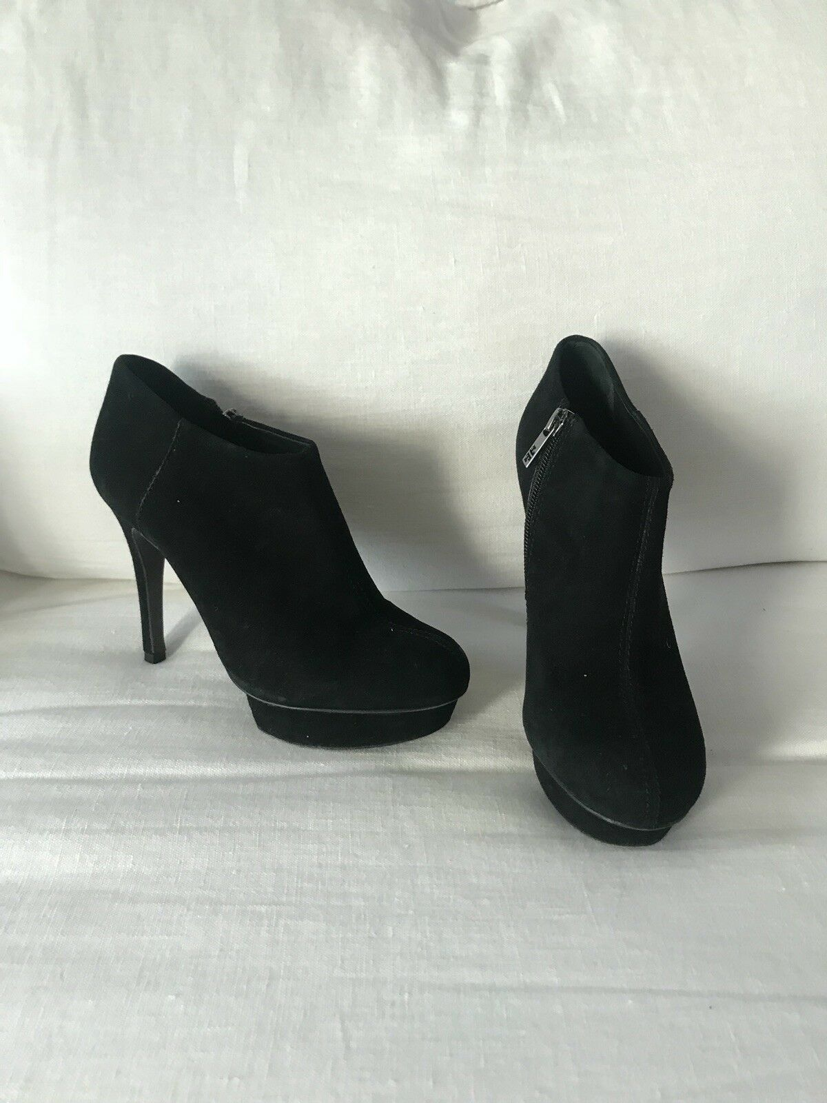 TORY BURCH Cidnay Cidnay Cidnay Black Suede Platform Ankle Booties Boots Stiletto Heel Size 6 100ef9