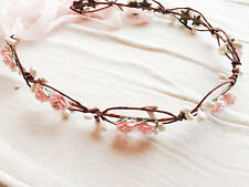pale pink rose hair crown wreath garland hairpiece boho accessory bridal wedding