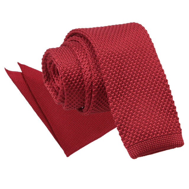b9fdf4cd03a4 DQT Knit Knitted Plain Burgundy Casual Men's Skinny Tie Handkerchief Set