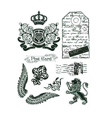 Viva Decor Silikon-Stempel Clear Stamps Motivstempel Krone, Engelsflügel Löwe