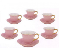 Inside Out Heart: Cup & Saucer 5 Oz- Pink/gold (set Of 6)