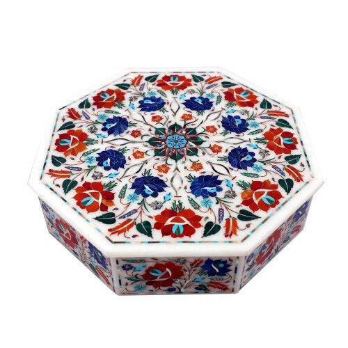 White Marble Decorative Jewelry Box Inlay semi precious Stones handmade work