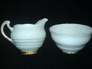 Royal-Vale-White-with-Thin-Gold-Bands-Jug-Sugar-Bowl-c1945-48