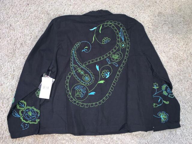 NEW NWT womens ladies size M green v-neck fleece l//s sweatshirt STUDIO WORKS