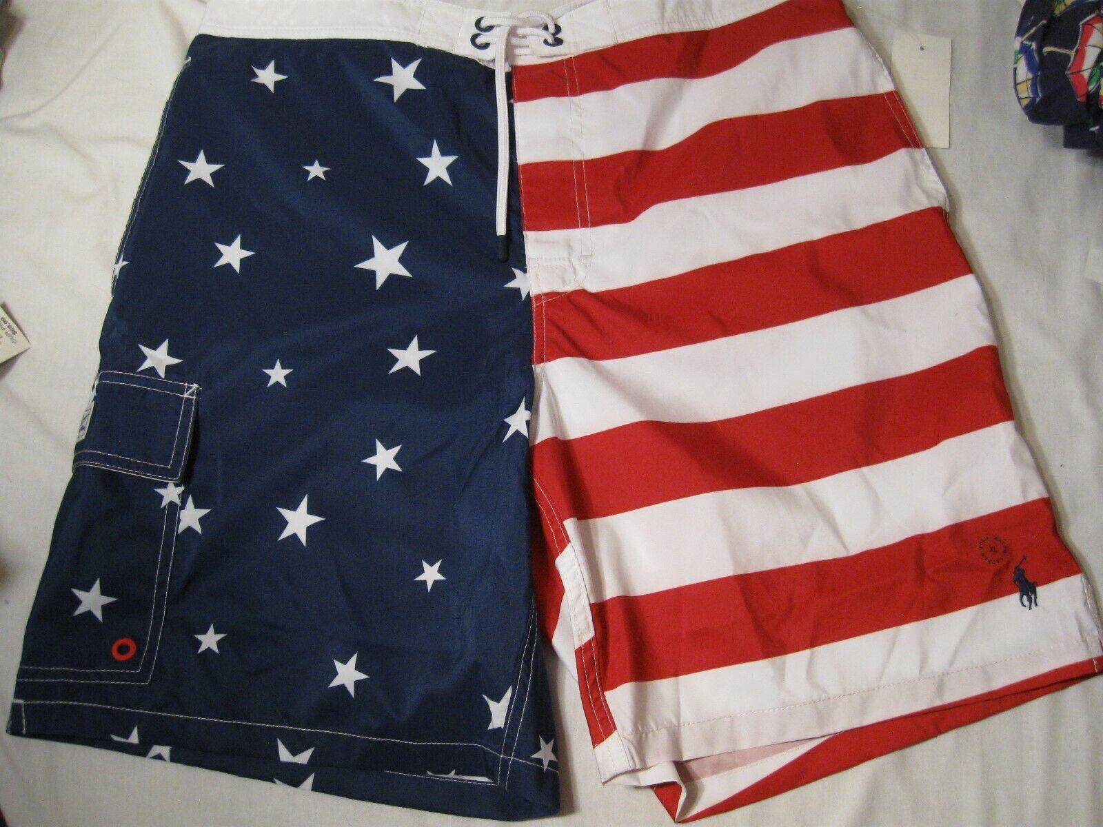 Polo Ralph Lauren Men's Board Shorts Americana NWT XL Red White bluee