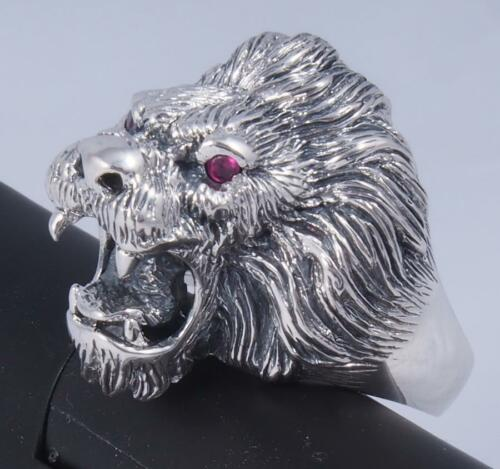 18g HUGE LION TIGER KING RUBY EYE 925 STERLING SOLID SILVER MENS WOMENS RING