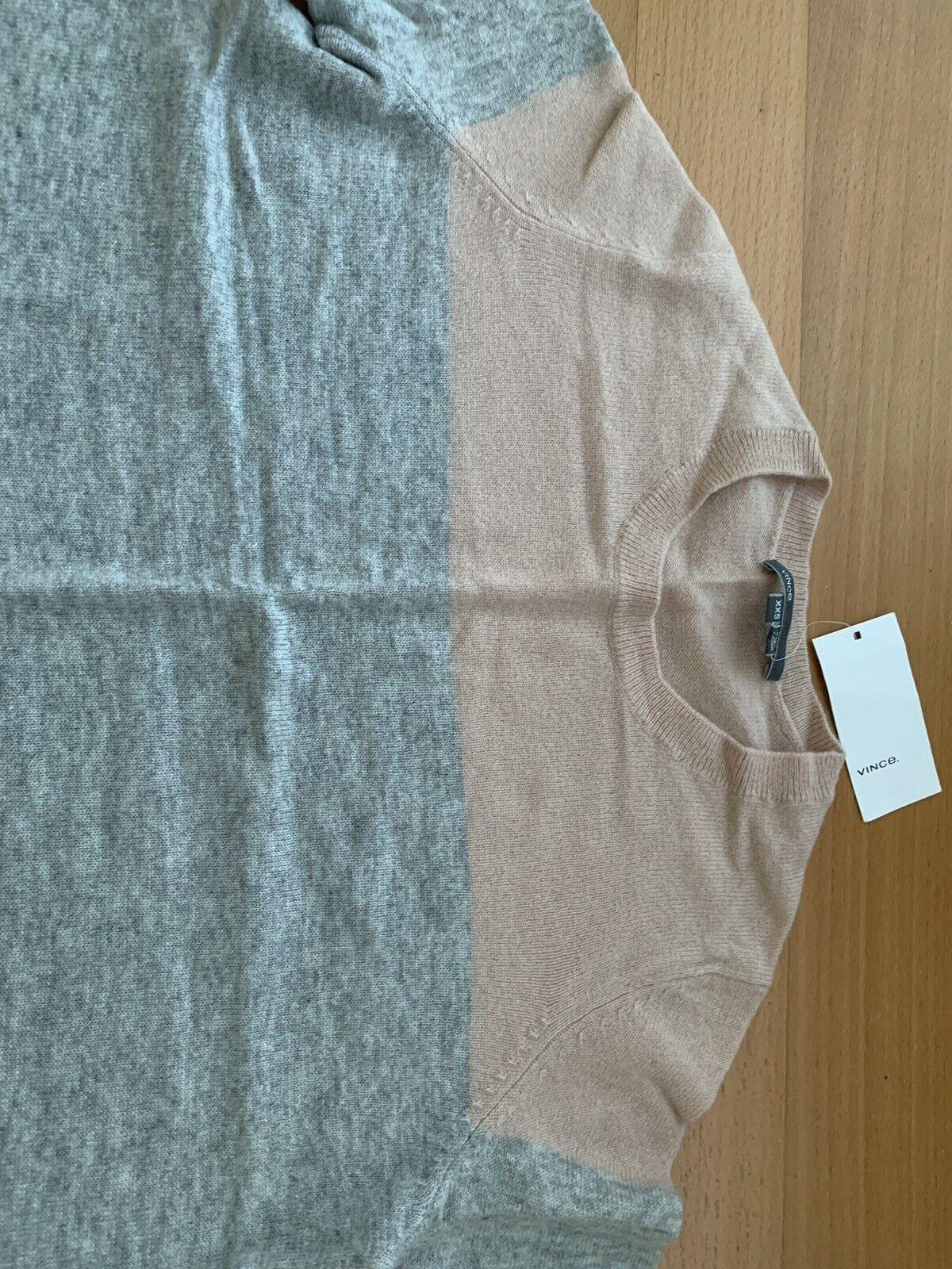 Vince NWT  235 salmon salmon salmon grey combo cashmere sweater top XXS ef037a