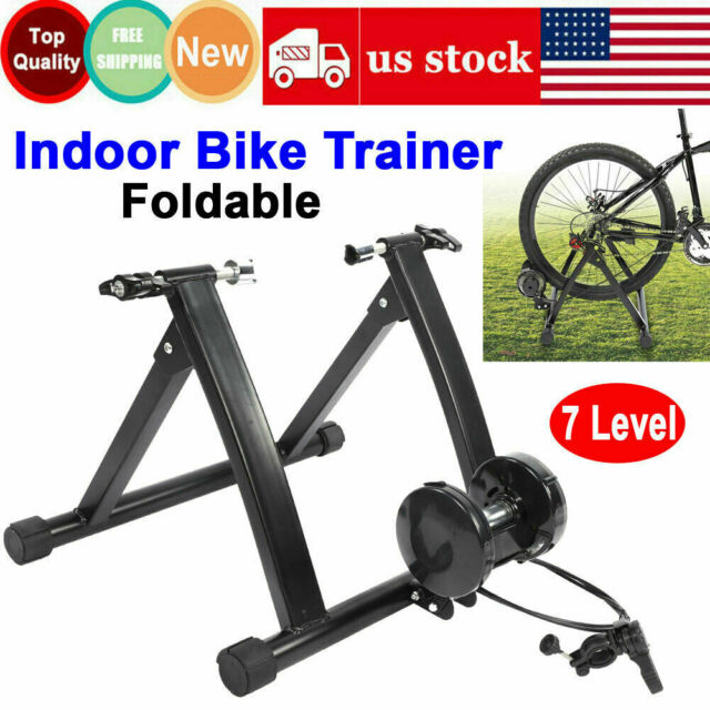 New 7 Level Resistance Magnetic Indoor Bicycle Bike Trainer Exercise Stand Black