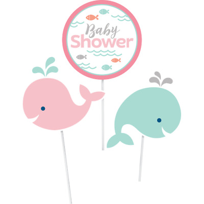 Lil/' Spout Whale Pink Baby Shower Party Supplies Small Dessert Plates