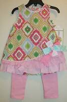 Rare Editions Pink Green Woven Top & Leggings Set 12 18 24 Months