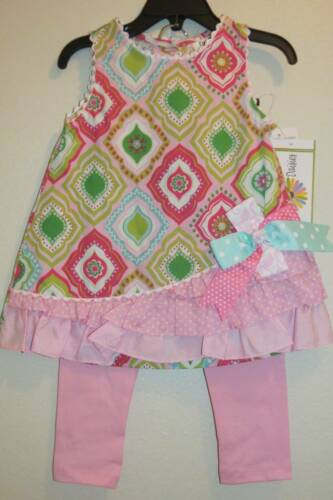 Rare Editions Pink Green Woven Top /& Leggings Set  12 18 24 Months