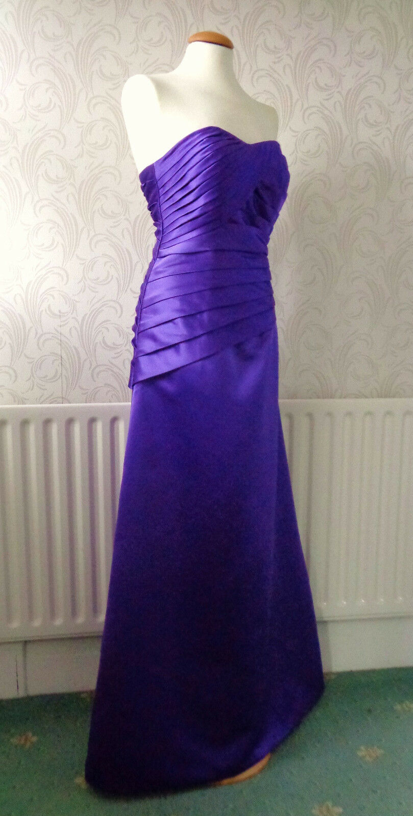Gorgeous ClassyPurple Satin Long Maxi Prom Party Dress Ball Gown Size12 Bust 34