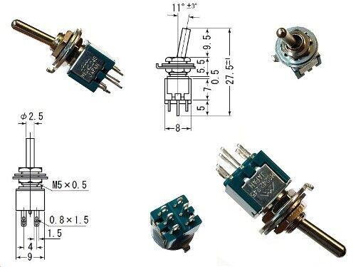 Kippschalter Hebelschalter Switch 3A 125VAC Schaltstellungen 2 ON-ON
