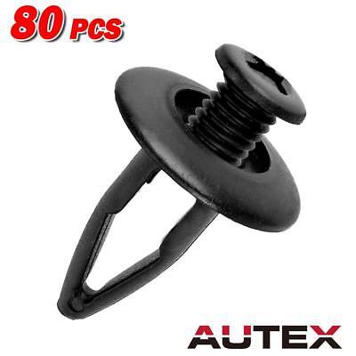 80x Nylon Front Bumper Fender Shield Hood Clips Rivet Retainer for Acura RDX RL