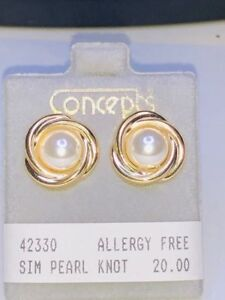 Details About Concepts Non Allergic Surgical Stainless Steel Simulated Pearl Earrings 7mm