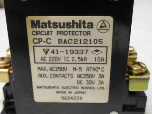 USED MATSUSHITA CIRCUIT PROTECTOR CP-C BAC212105 3 AMP A 3A 250 VAC