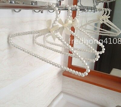 3pcs Plastic Pearl Bow Clothes Hangers For Kid Children Fashion New