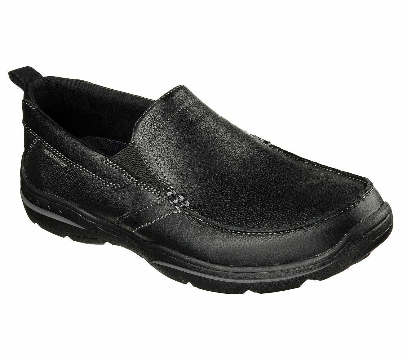 Skechers Men's Relaxed Fit  Harper Forde Leather Loafer shoes. 64858 BLK