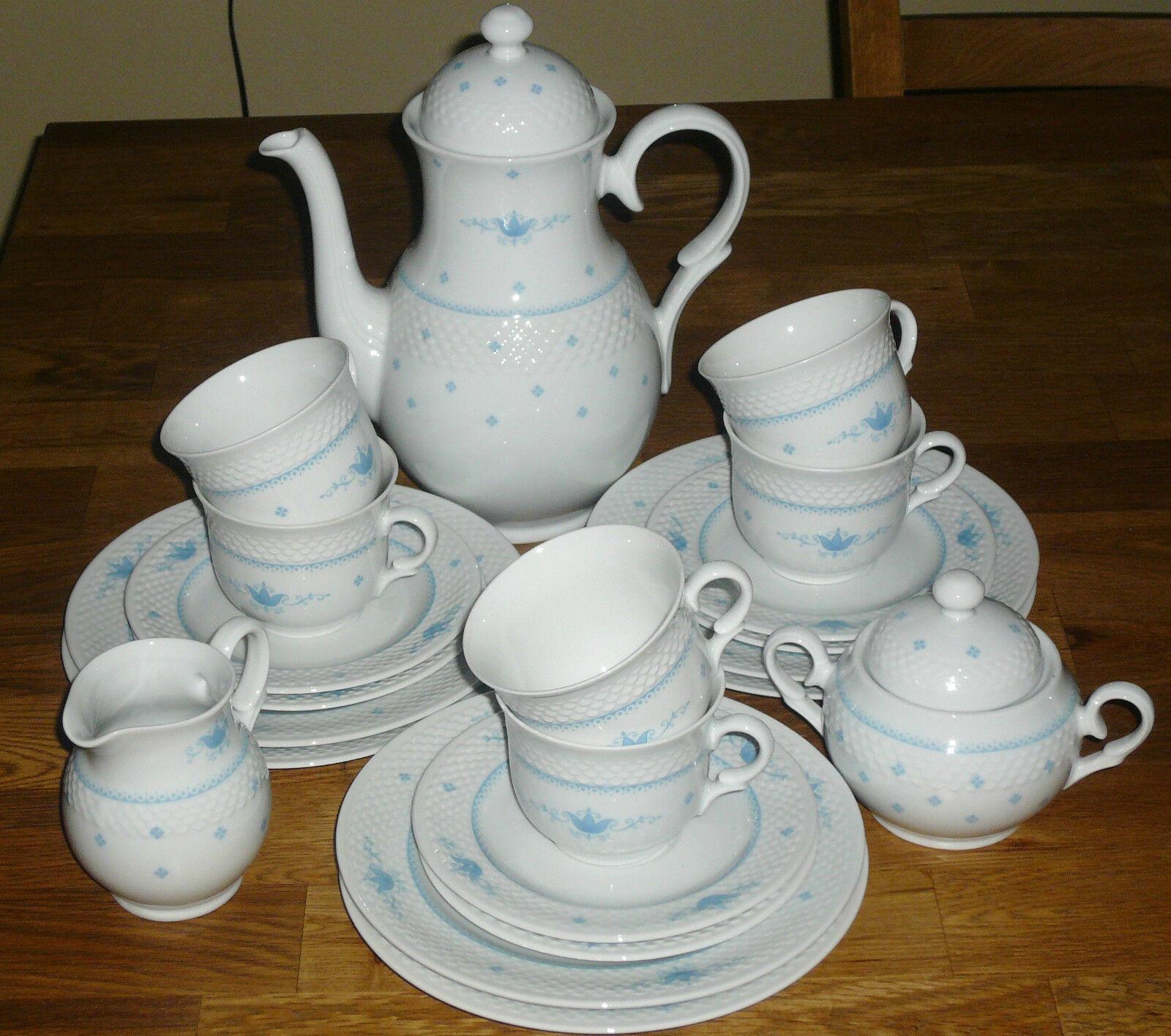21 Tlg Kaffeeservice   BAVARIA  ARZBREG  SCHUMANN   Blaue Muster